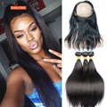 Pre Plucked 360 Lace Frontal with Bundle 3Pc Brazilian Straight Hair Bundles with 360 Lace Frontal Closure with Baby Hair Bundle