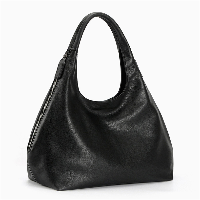BeDo Cow Leather Black Zipper Shoulder Bags Real Leather Simple Real Leather Handbags Women Black Casual Bags