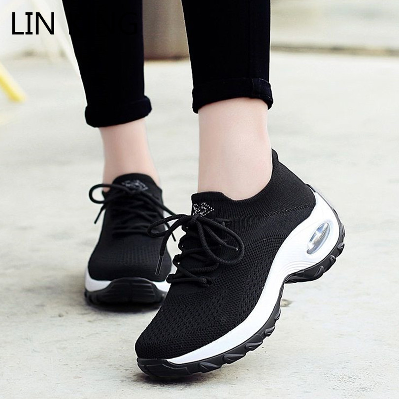 LIN KING Big Size Thick Sole Women Outdoor Sneakers Breathable Lace Up Wedges Casual Waling Shoes Height Increase Swing Shoes