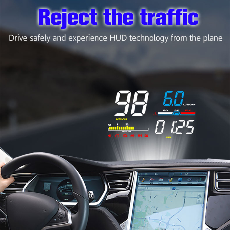 OBD2 D5000 Hud Car Speed Windshield Projector Head Up Display Speedometer Projetor Auto Alarm OBD OBDii