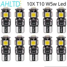 цена на 10Pcs/Lots Car Led Canbus Free Reading Bulbs Door Light Dashboard Lamp No Error 12V T10 W5w 5050 SMD 5Led White Blue Red Yellow