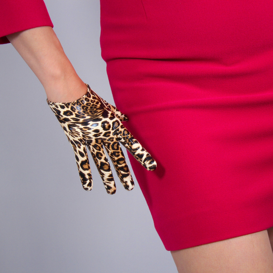 Ladies Leopard Leather Gloves  16cm Patent Leather Ultra Short Simulation Leather PU Bright Leather Golden Brown Animal Pattern