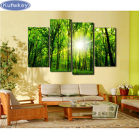 Wholesale 4pcs green trees forest 5d diamond embroidery diy Diamond painting Rhinestone home Decoration needlework Wall stickers