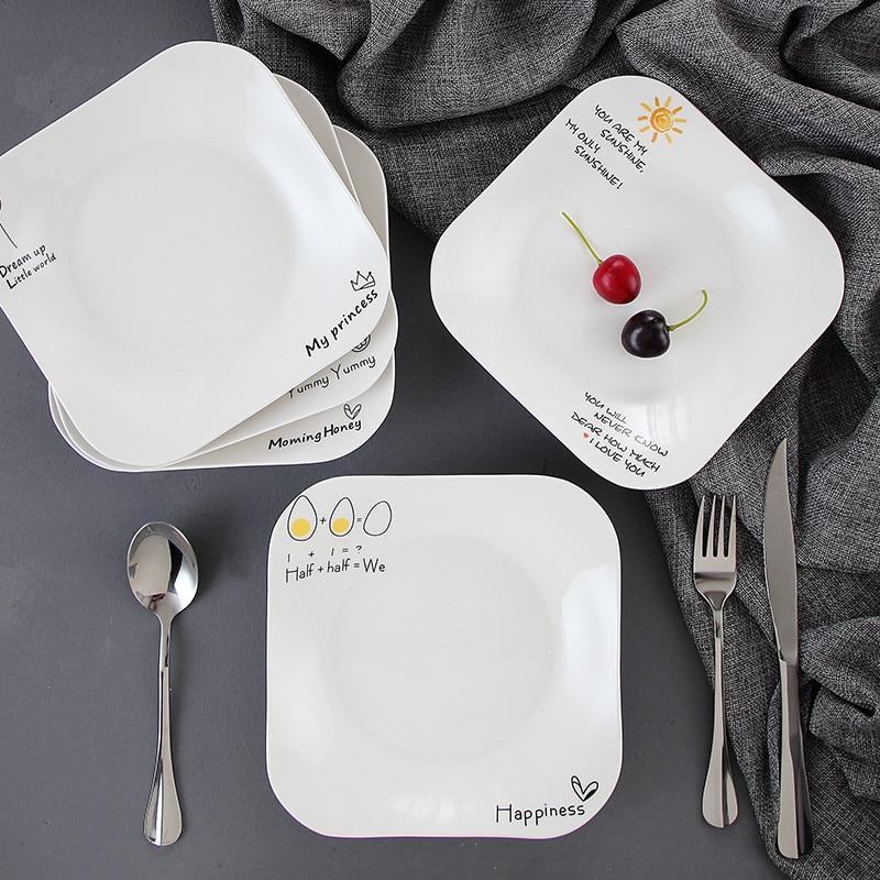 European Vintage Steak Plates Restaurant Breakfast Plate Dinnerware Set Brief Strip Dinner Trays Ceramic Salad Pasta Dishes