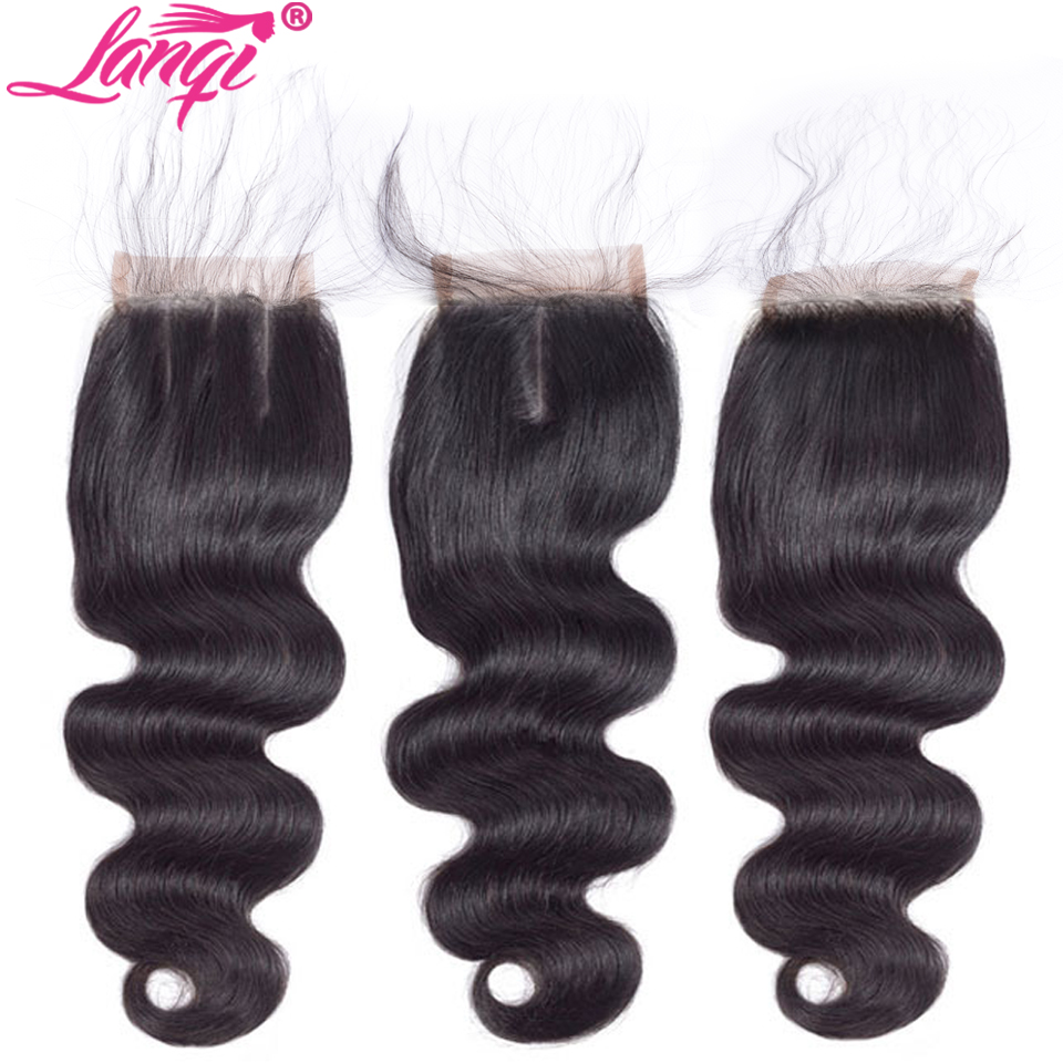 Peruvian Brazilian body wave Lace Closure Free Middle Three Part 100% Human Hair weaving 4x4 Swiss Lace Top Closure Natural Color
