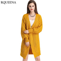 Rqueena European Style Mohair Cardigan Sweater Womens Clothing Trends Lantern Sleeve Loose Long Cardigans Women Autumn