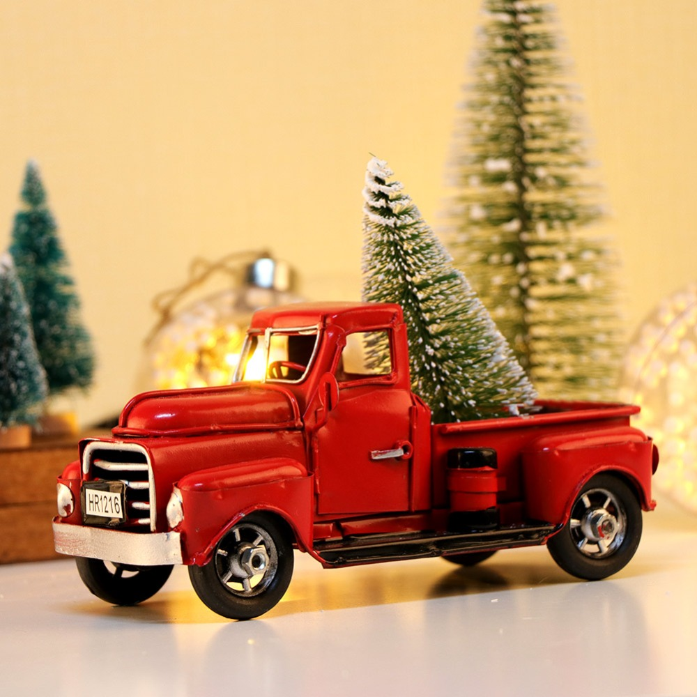 Christmas Party Gift Ideas.Details About Red Metal Truck Christmas Party Decoration Tree Xtmas Gift Ideas Vintage Style