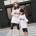 Casual Family Set Off Shoulder T shirt+Lace Leggings 2pcs Clothing Mother and Daughter Clothes Family Clothing Sets WL86