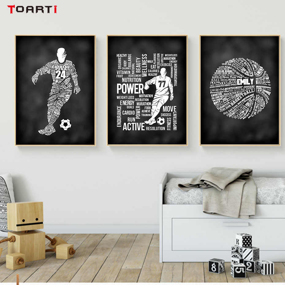Abstract creative sports football art canvas painting inspirational word print and poster wall picture for kids