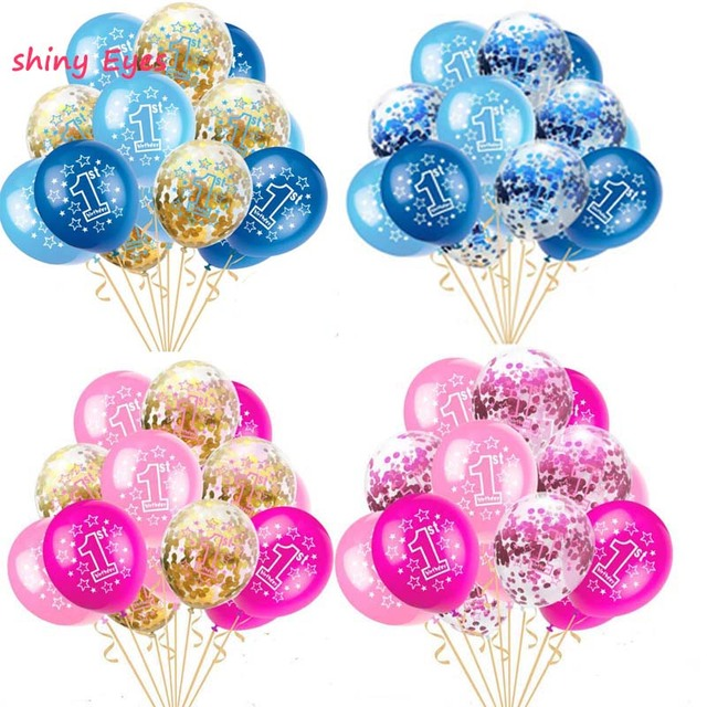 Baby Shower 1st Birthday Balloons Set Pink Blue Confetti Latex For Boy Girl 1 Year Old Party Accessories
