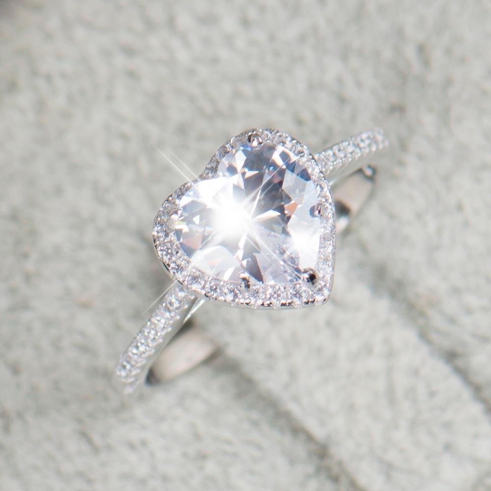 Heart shape 925 Sterling Silver jewelry Ring AAAAA Level CZ