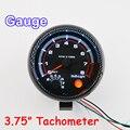 """3.75 Polegada 95mm Tacômetro para Única Cor LED Auto Meter 3 3/4 """"12 V Carro Bitola [Estilo Fibra De carbono] TAC 0-8000 RPM FRETE GRÁTIS"""