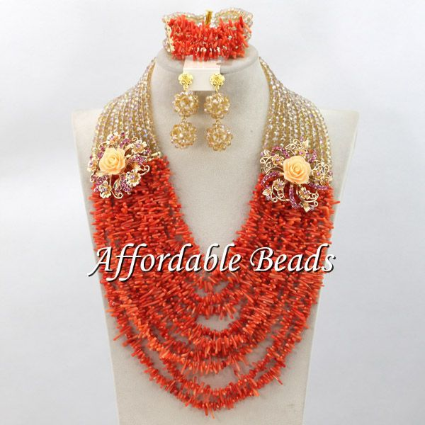 Wholesale Wedding Coral Beads Jewelry Set Charming Nigerian Wedding Beads Set Free Shipping CN097Wholesale Wedding Coral Beads Jewelry Set Charming Nigerian Wedding Beads Set Free Shipping CN097