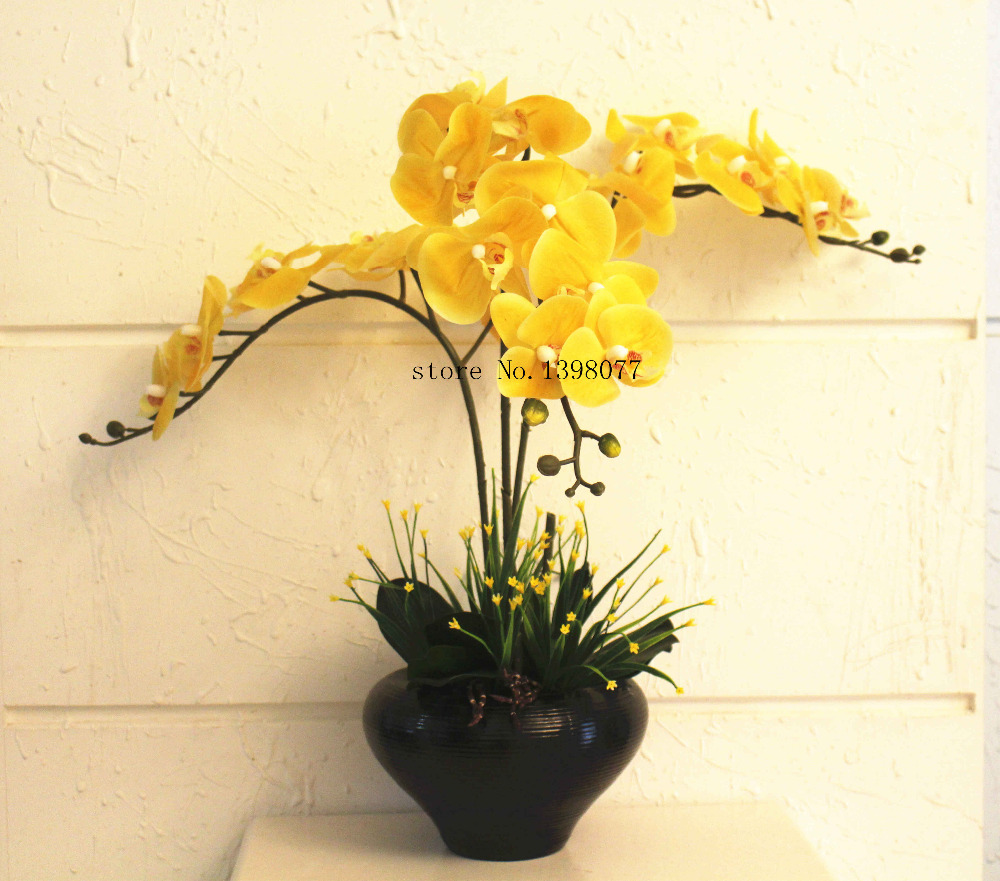 1 Set Golden Yellow Color Orchids Real Touch Flower With Leaves