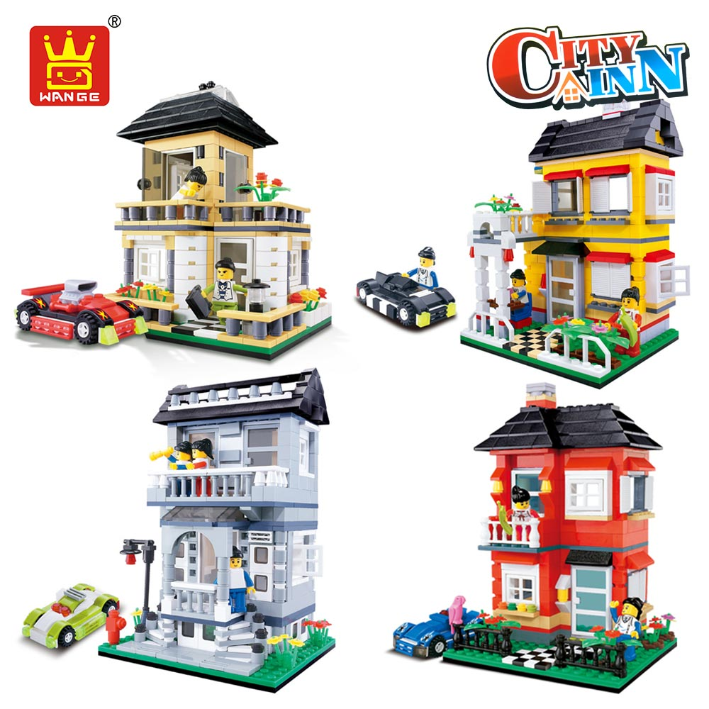 WANGE Building Blocks Compatible with DIY Villa Blocks Building Bricks House Architecture Model Toys for Children City Street hot sembo block compatible lepin architecture city building blocks led light bricks apple flagship store toys for children gift
