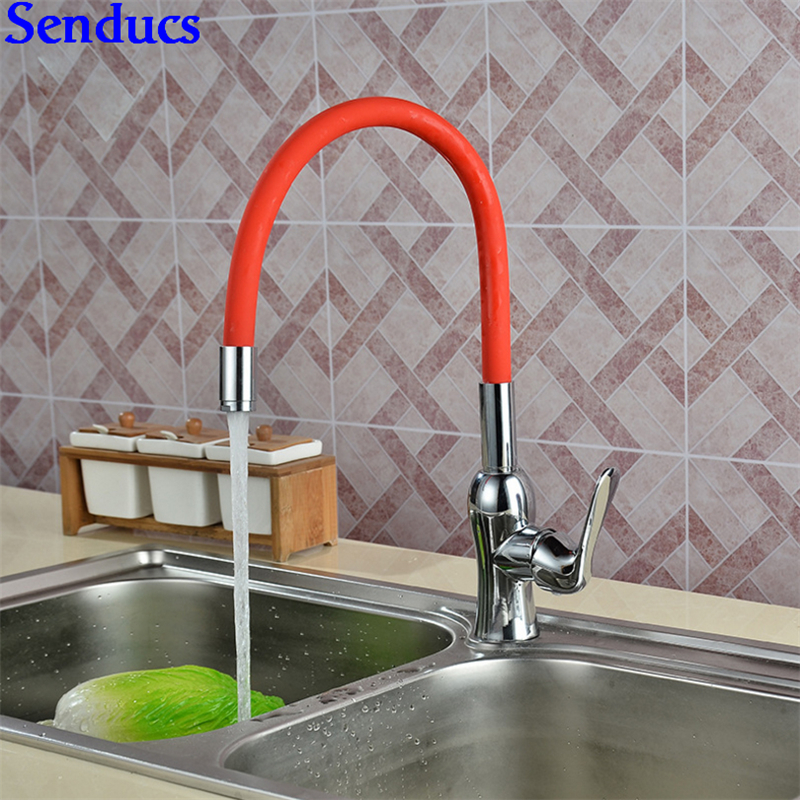 Senducs Red Kitchen Mixer Tap With Universal Tube Kitchen Sink Faucet Polished Chrome Kitchen Faucet Hot Cold Water Tap senducs kitchen faucet three way kitchen sink mixer tap of quality brass spring kitchen sink faucet hot cold kitchen water tap