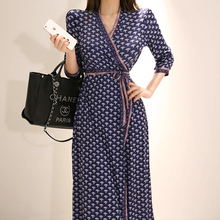 CINESSD Long Maxi Wrap Dress 2019 Women Summer Polyester Elegant Flower Print Vneck Split Mid Long Sleeve Loose Dresses Vestidos flower print flutter sleeve wrap dress