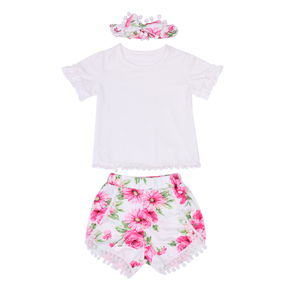 3Pcs Summer Baby Girl Outfits Clothes Toddler Girls Short Sleeve White Tops Floral Tassel Shorts+ Headband Children Clothing Set 3pcs set newborn infant baby boy girl clothes 2017 summer short sleeve leopard floral romper bodysuit headband shoes outfits