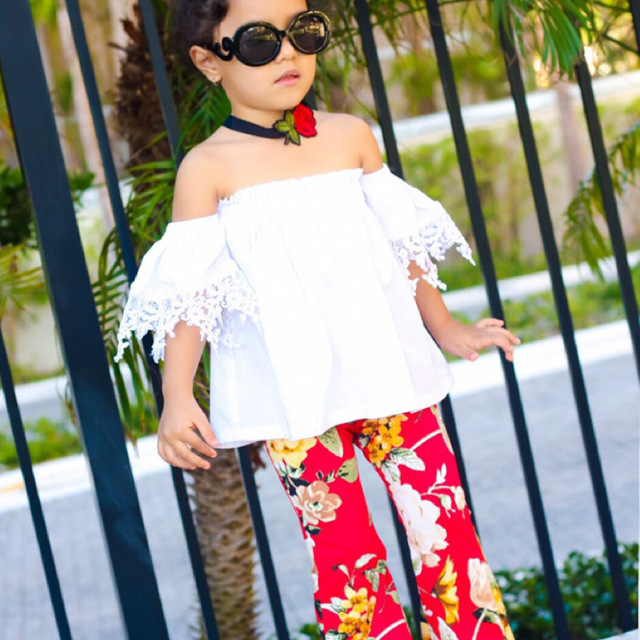Girl Clothing Sets Outfits White T-shirt Off Shoulder top Blouse + Red Floral Pants Two Piece Set Summer 2Pcs Suit 2018 Kids set