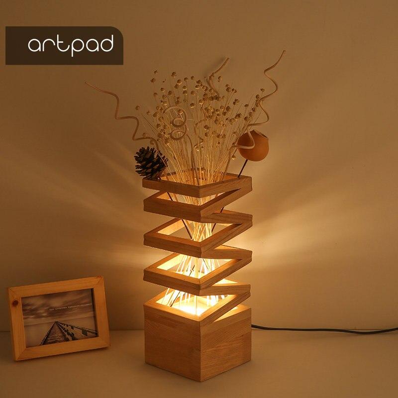 테이블 램프에 대 한 artpad 나무 장식 램프 음영 꽃 3 색 변경 가능한 낭만적 인 침실 머리맡 거실 연구 조명