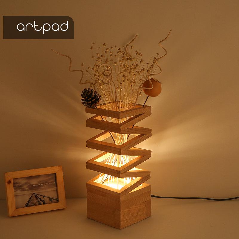 Artpad Holz Dekoration Lampe Shades für Tisch Lampen Blume 3 Farbe Veränderbar Romantische Schlafzimmer Nacht Wohnzimmer Studie Beleuchtung