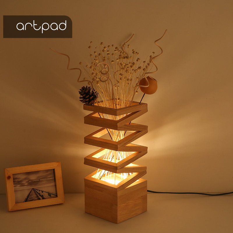 Artpad decoração de madeira lâmpada tons para candeeiros de mesa flor 3 cor mutável romântico quarto cabeceira sala estar estudo iluminação