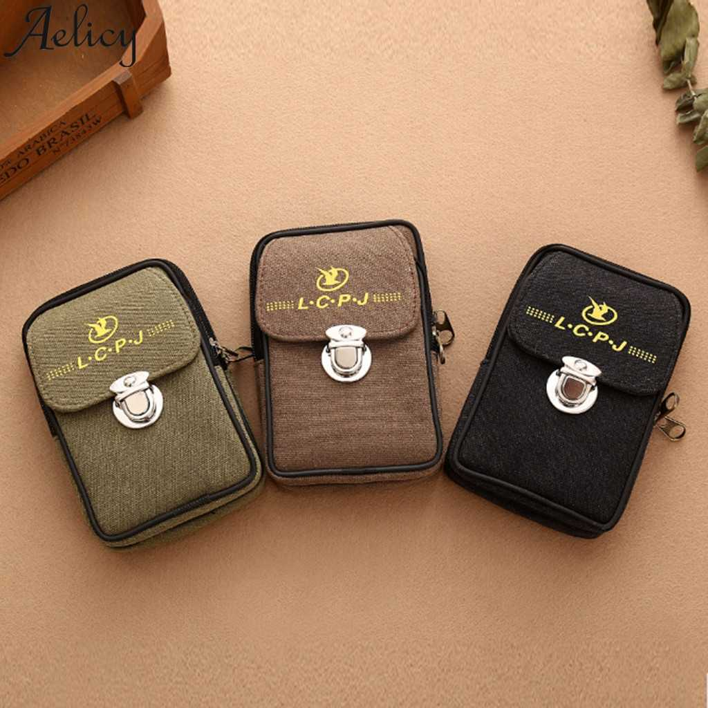 Aelicy Men Canvas Waterproof Solid Color Wallet Men's Coin Purse Zipper Short Wallet Lady Handbag Bags Wallet Men Clutch Bag