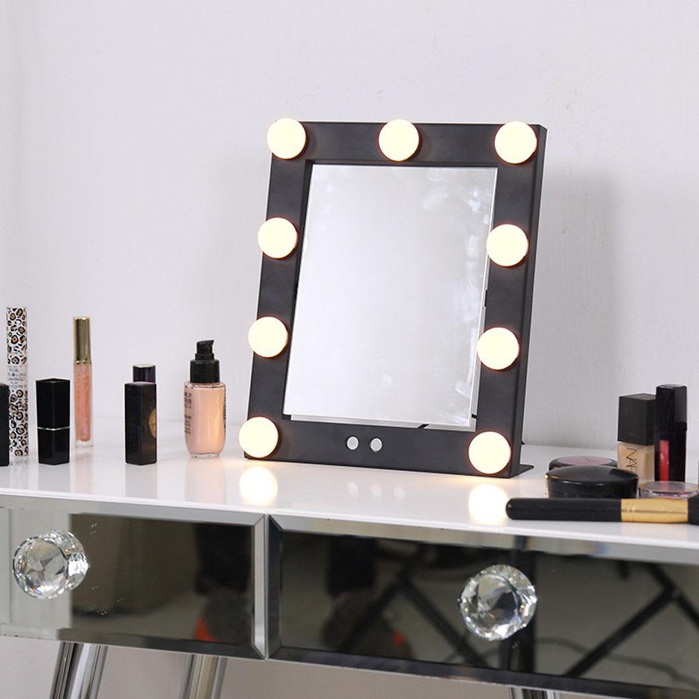 Lighted Hollywood Vanity Makeup Mirror 9 Led Bulb Lights