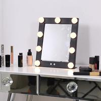 Lighted Hollywood Vanity Makeup Mirror 9 Led Bulb Lights Desktop 360 Degree Rotation LED Make Up Mirror Beauty Tool 2018