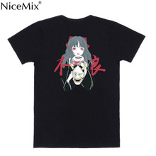 NiceMix Summer Dark Black Women T-Shirt Mask Girl Print Japanese Harajuku Gothic Style Casual Tee Tops Kawaii Anime