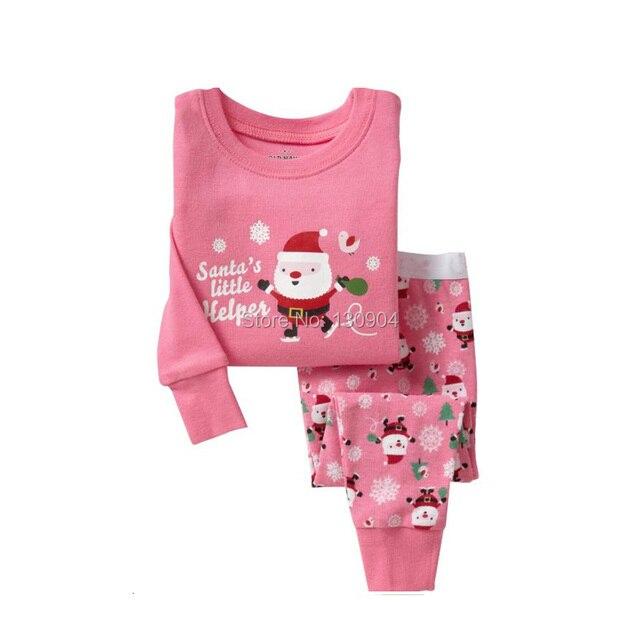 ГОРЯЧАЯ 2 шт./компл. Рождество дети Пижамы 2016 Нова малыш мальчик девушки зима теплая пижамы набор хлопок футболка + брюки набор одежда для новорожденных набор