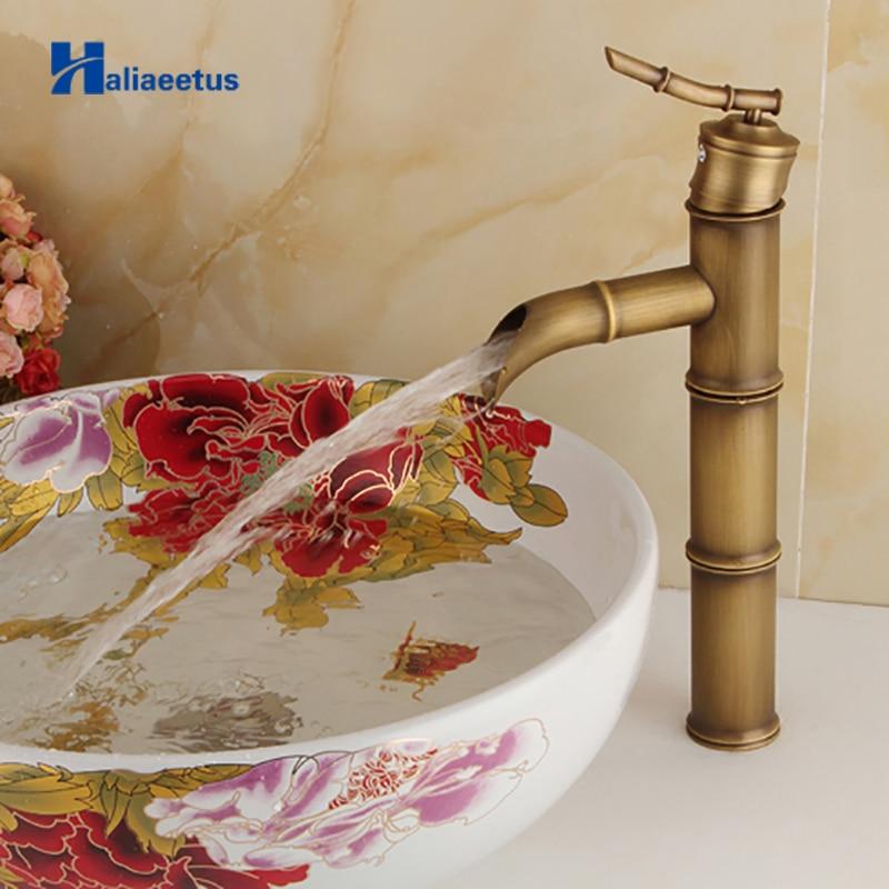 Antique Bamboo Bathroom Faucet Single