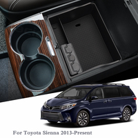For Toyota Sienna 2013 Present LHD Car Styling Car Center Console Armrest Storage Box Cover Interior Decoration Auto Accessories