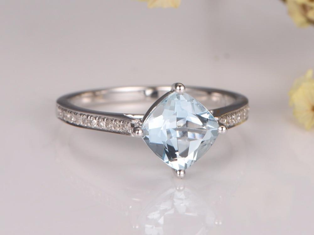 MYRAY VVS Blue Aquamarine Engagement Ring 7mm Cushion Cut ,14K White Gold,Diamond Band,Bridal Wedding Ring,Natural Gemstone Ring