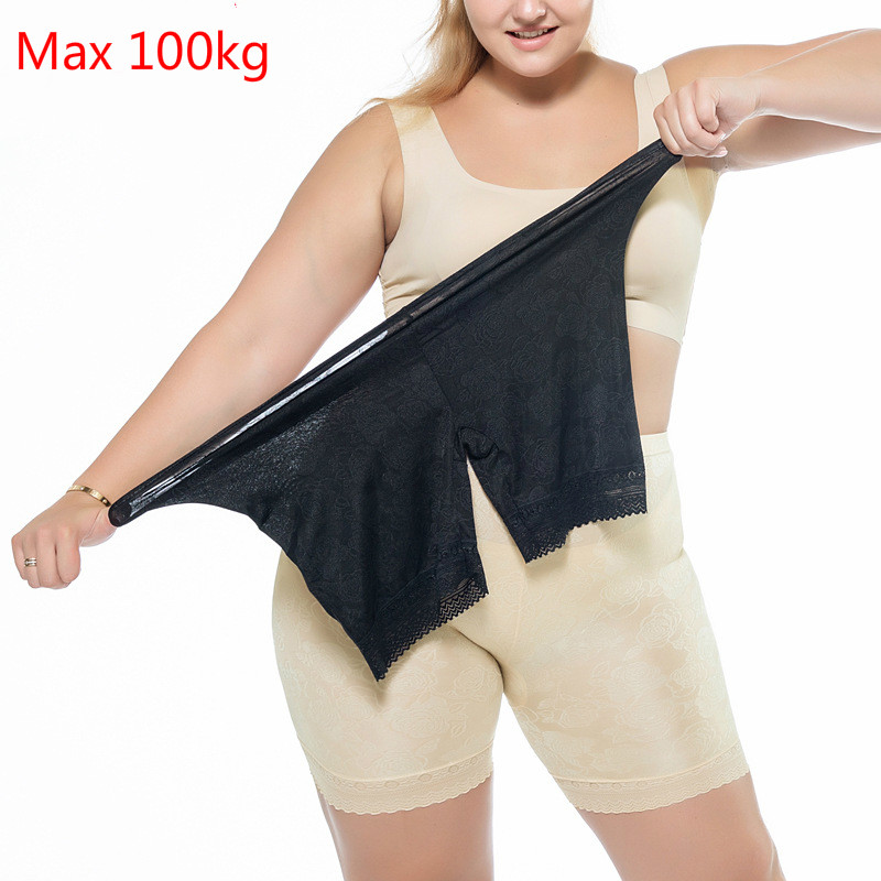 MAX 100kg Womens Plus Size Ice Silk Lace Safety Pants Anti Chafing Underwear Skirt Boy Shorts For Women Summer Knickers Briefs