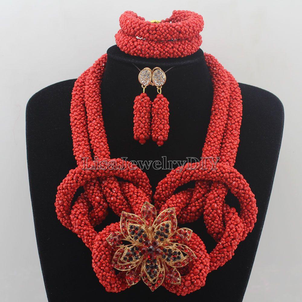 Nigeriano declaración collar de boda Africana Cuentas la joyería de traje  Africana Juegos de joyería Cuentas hd7492 ea9fd3f2dca