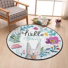 Conejo encantador ronda carpet diámetro 60/80/100/120/150 cm super suave de coral polar salón room carpet niños niños dormitorio estera alfombra