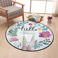 Lovely Rabbit Round Carpet Diameter 60/80/100/120/150CM Super Soft Coral Fleece Living Room Children Kid Bedroom Carpet Home Use