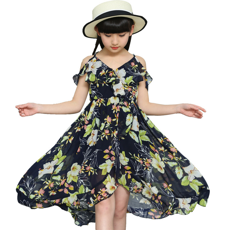 Dresses for Girls Summer Chiffon Beach Dress Children Off Shoulder Floral Print Kids Bohemian Dress 4 8 9 12 Years Girl Sundress viven leigh boho floral print long dress retro bohemian maxi dress sexy ethnic deep v neck beach dresses hippie robe