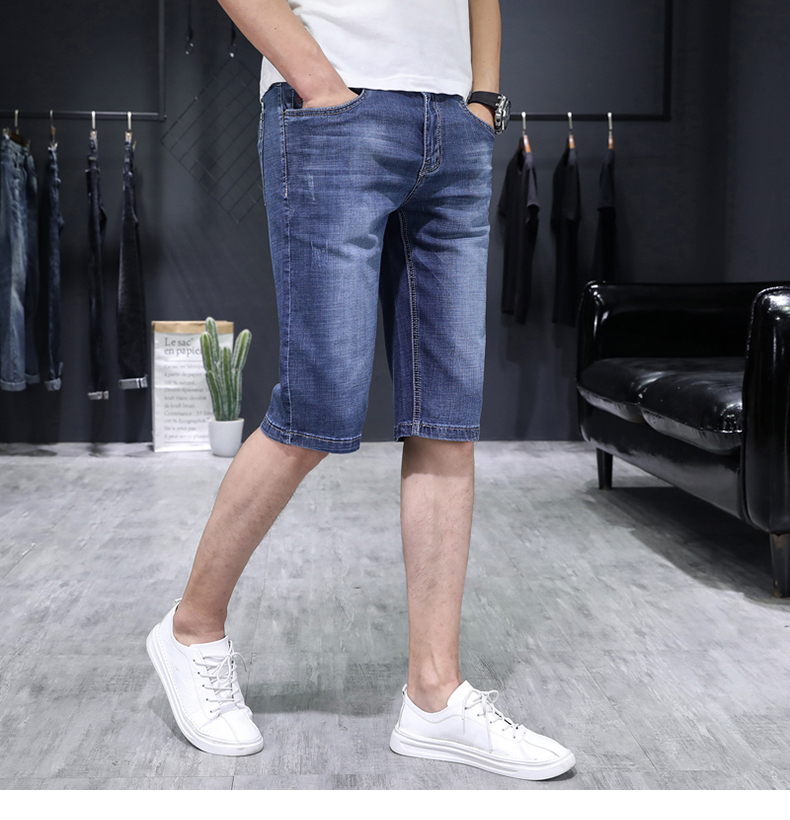 KSTUN Men's Jeans Trousers Summer Shorts Light Blue Stretch Denim Short Slim Fashion Shorts Man Casual Mens Jeans De Homme Newly 12