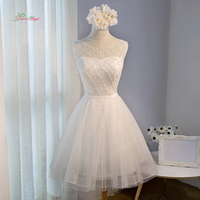 Dream Angel Elegant Lace Knee Length Homecoming Dresses 2017 Appliques Beading Pearls Short Special Occasion Dress