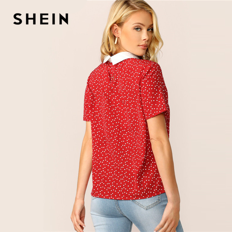SHEIN Lady Red Preppy Heart Print Contrast Collar Pearl Beaded T Shirt Women Tops Summer Casual Short Sleeve Student Tshirt SHEIN Women Women's Clothings Women's Shein Collection cb5feb1b7314637725a2e7: Red