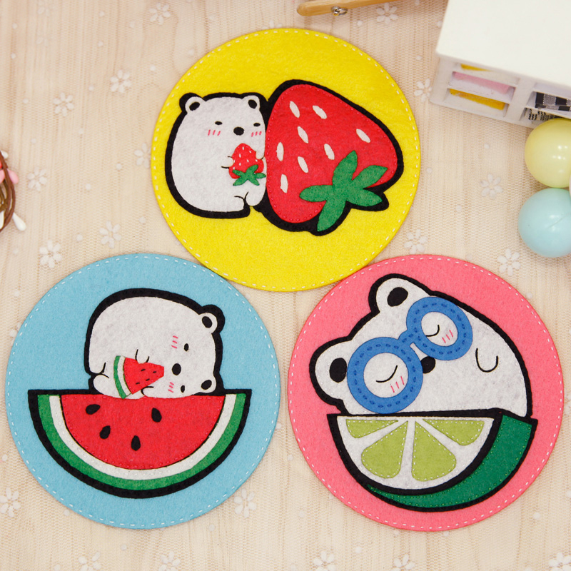 Cheap 3Pcs/Lot Cute Drinks Coasters Fabric Table Cup Mat Home Decor Felt DIY Package Handmade Cartoon Coaster