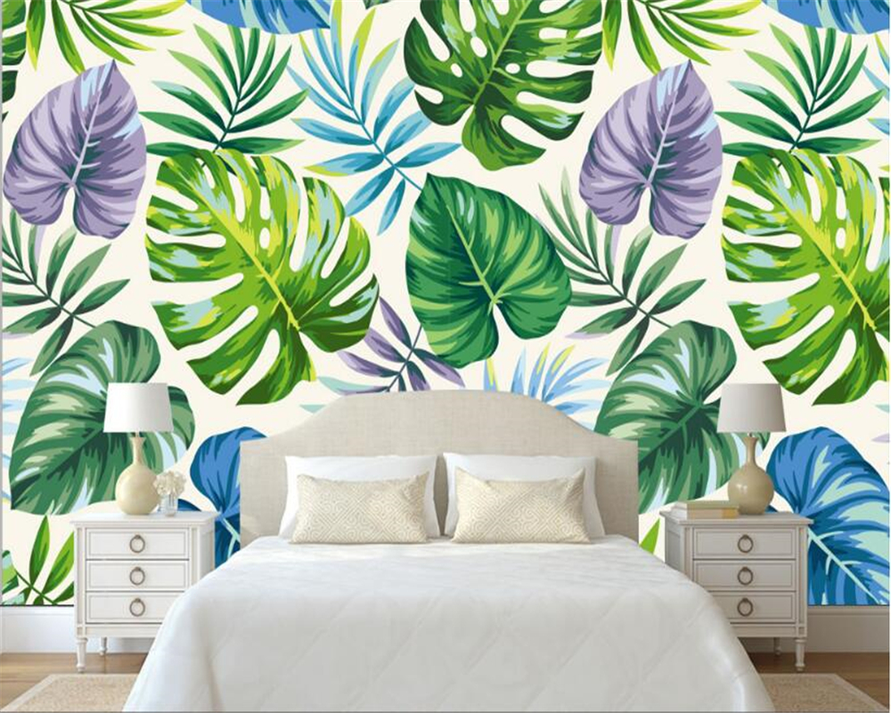 Beibehang Modern Sederhana Estetika Wallpaper Hutan Hujan Tropis Tanaman Daun Pisang Pastoral Lukisan Dinding Latar Belakang
