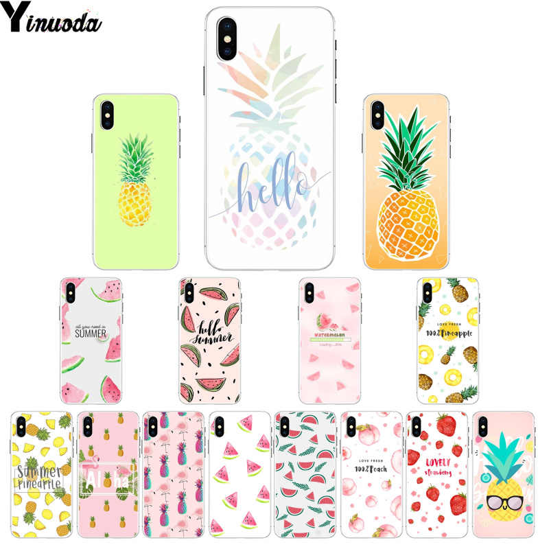 Yinuoda Summer Fruit Pineapple watermelon DIY Printing Phone Case cover Shell for Apple iPhone 8 7 6 6S Plus X XS MAX 5 5S SE XR