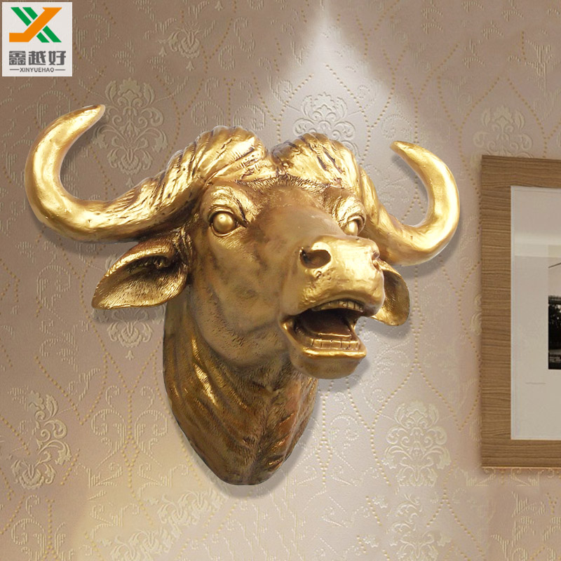 European style creative wall hanging animal ox head decorative household living room bedroom decoration retro copper and silverEuropean style creative wall hanging animal ox head decorative household living room bedroom decoration retro copper and silver