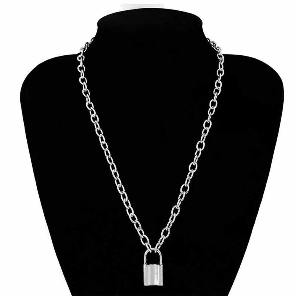 1pc New Fashion Punk Jewelry Gold Silver Color PadLock Pendant Necklace Stainless Steel Rolo Cable Chain Necklace