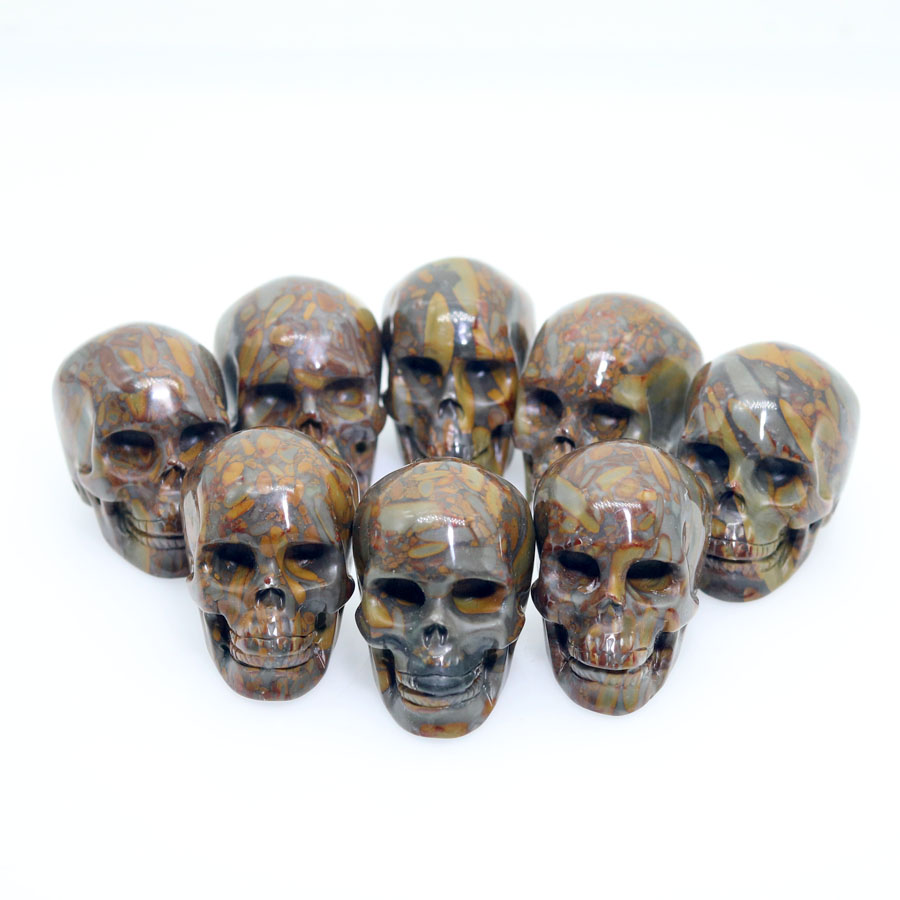 "Randomly Send 1pc 2""BAMBOO JASPER Handmade Carved Crystal Skull Crystal Realistic Healing Furnishing Articles Figurine"