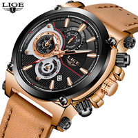 LIGE Mens Watches Top Brand Luxury Quartz Watch Men Fashion Waterproof Leather Army Military Sports Watch Man Relogio Masculino