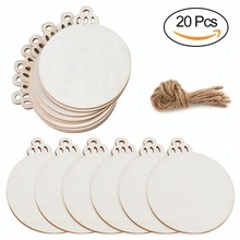 OurWarm 20pcs Wooden Round Baubles Tags Christmas Balls Decorations Art Craft Ornaments DIY Decors Home Decoration